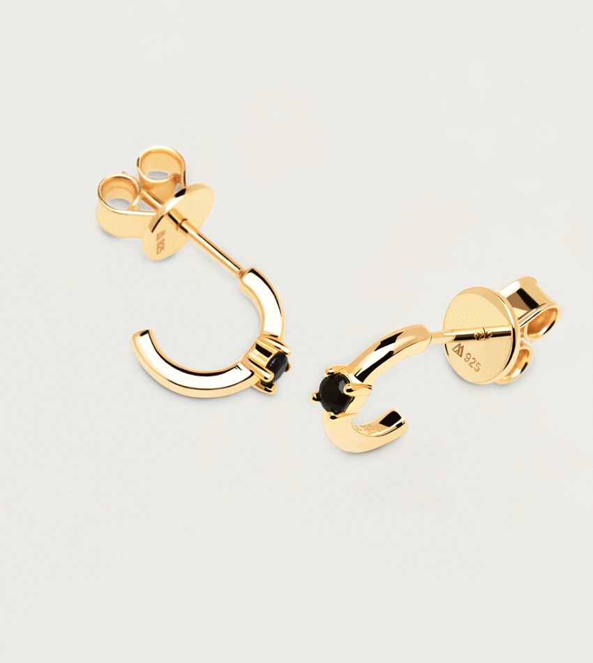 Black Solitary Earrings Gold