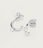 White Solitary Earrings Silver