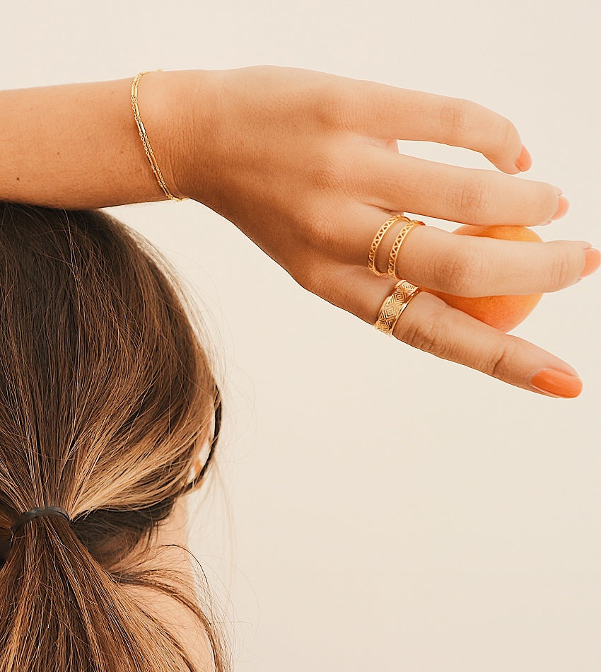 ARTISAN STAMPED STACKING RING GOLD