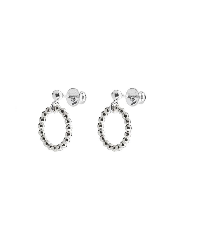 Champagne Circle Earrings Silver