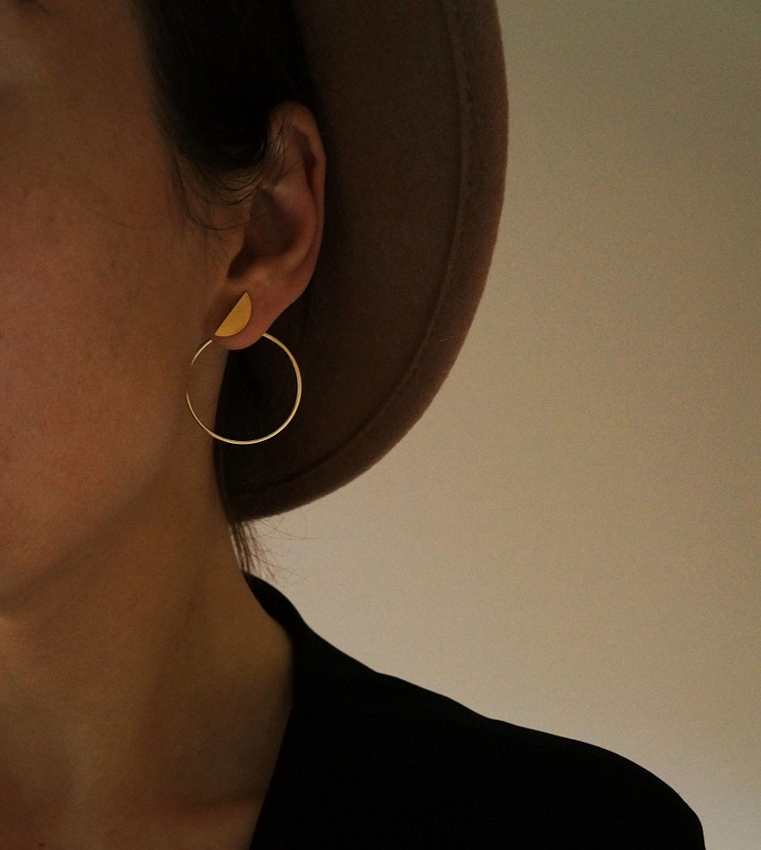 Half moon gold color double sided earrings