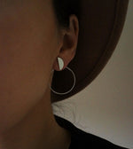 Half moon silver color double sided earrings