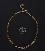 Mountain crystal gold plated big chain necklace