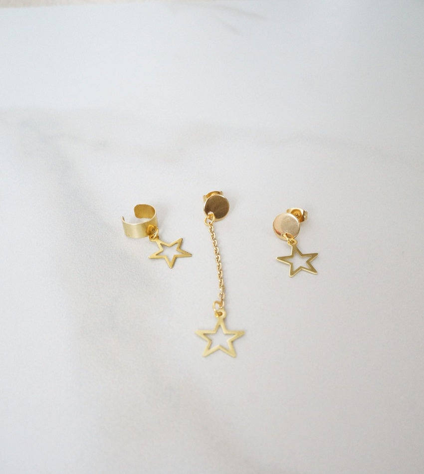 Gold color star and ear cuff set