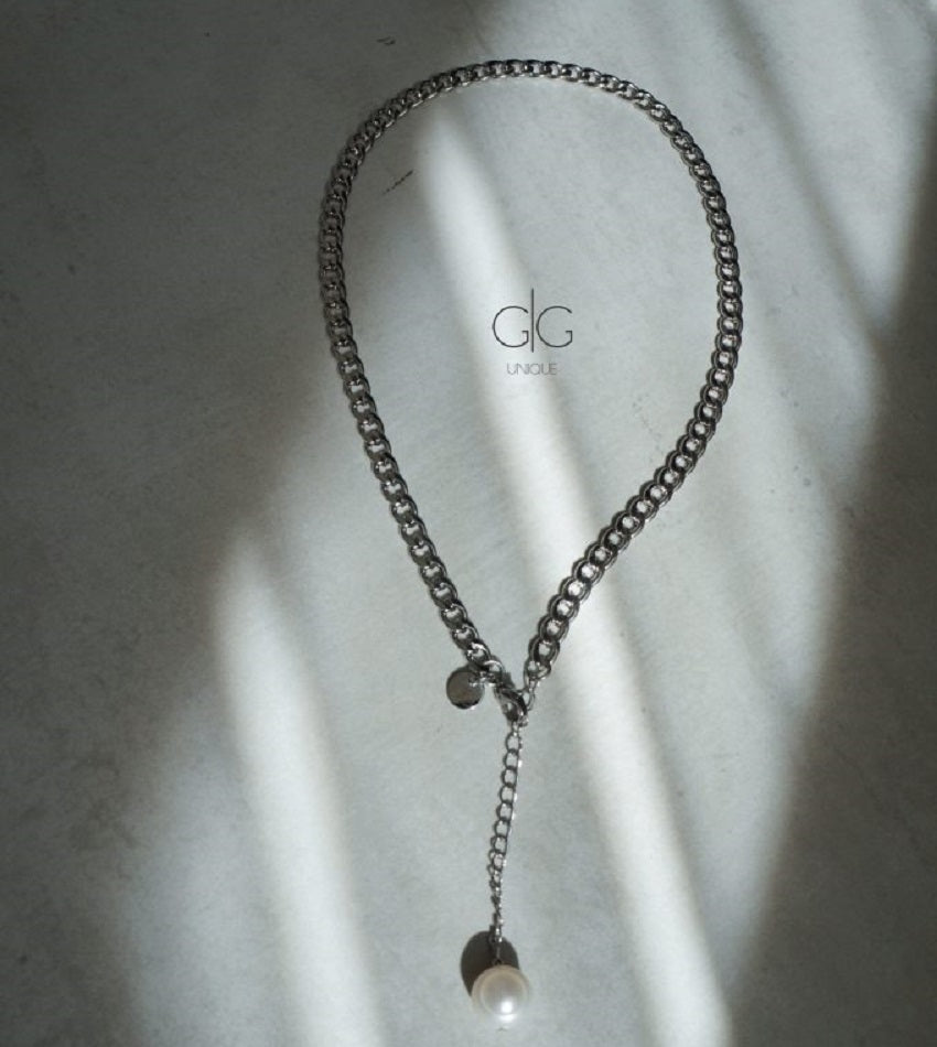 Steel color necklace with a freshwater pearl