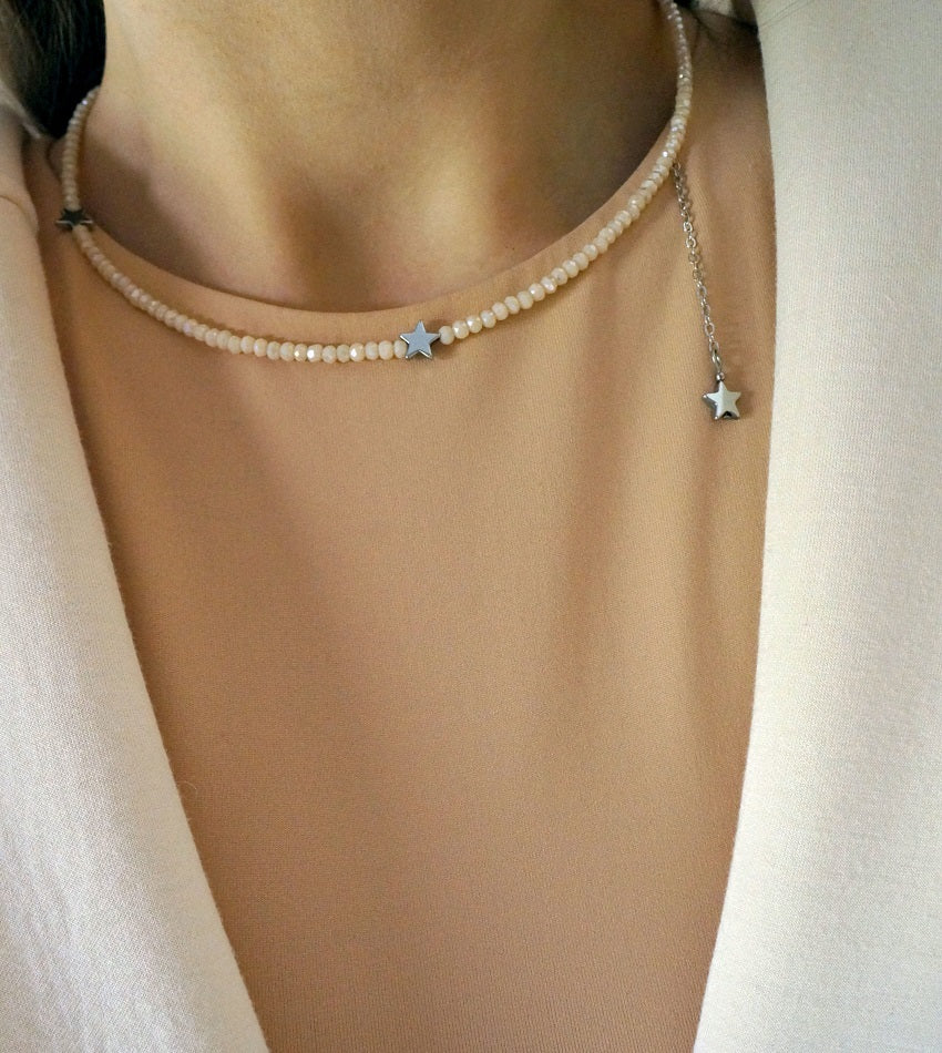 Star necklace with crystals nude color