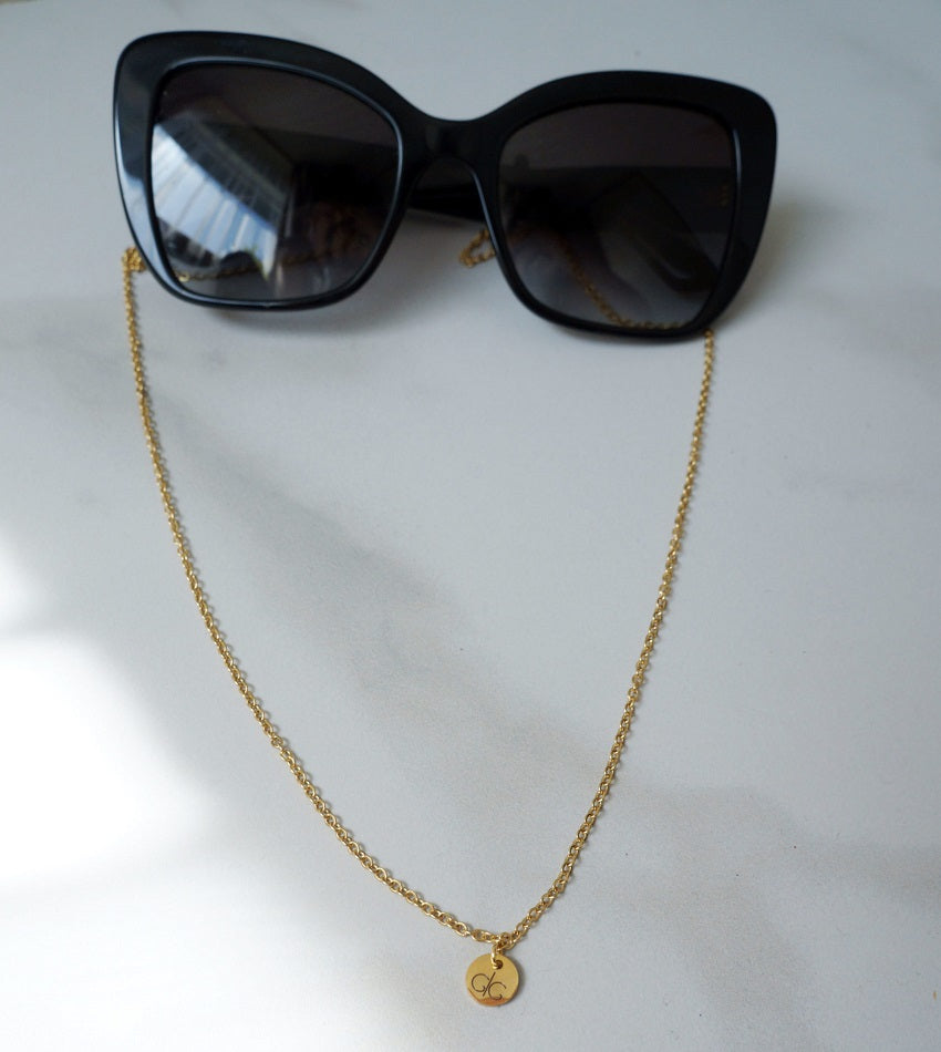 Thin glasses chain gold plated stainless steel