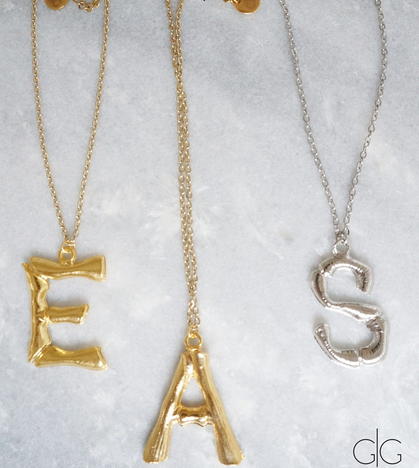 Big letter trendy gold plated necklace