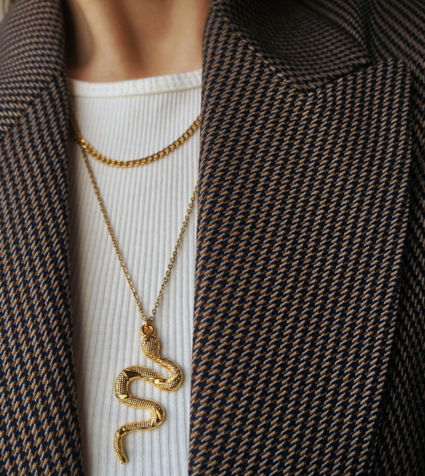 Gold plated snake necklace