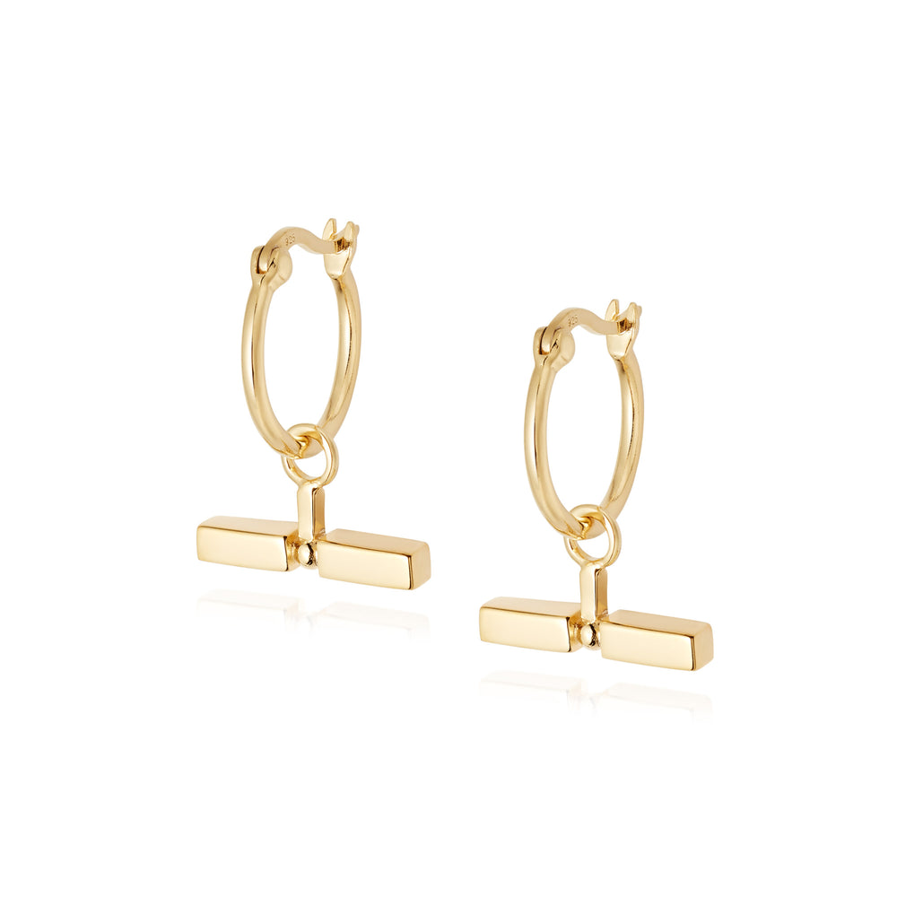 STACKED T-BAR EARRINGS GOLD