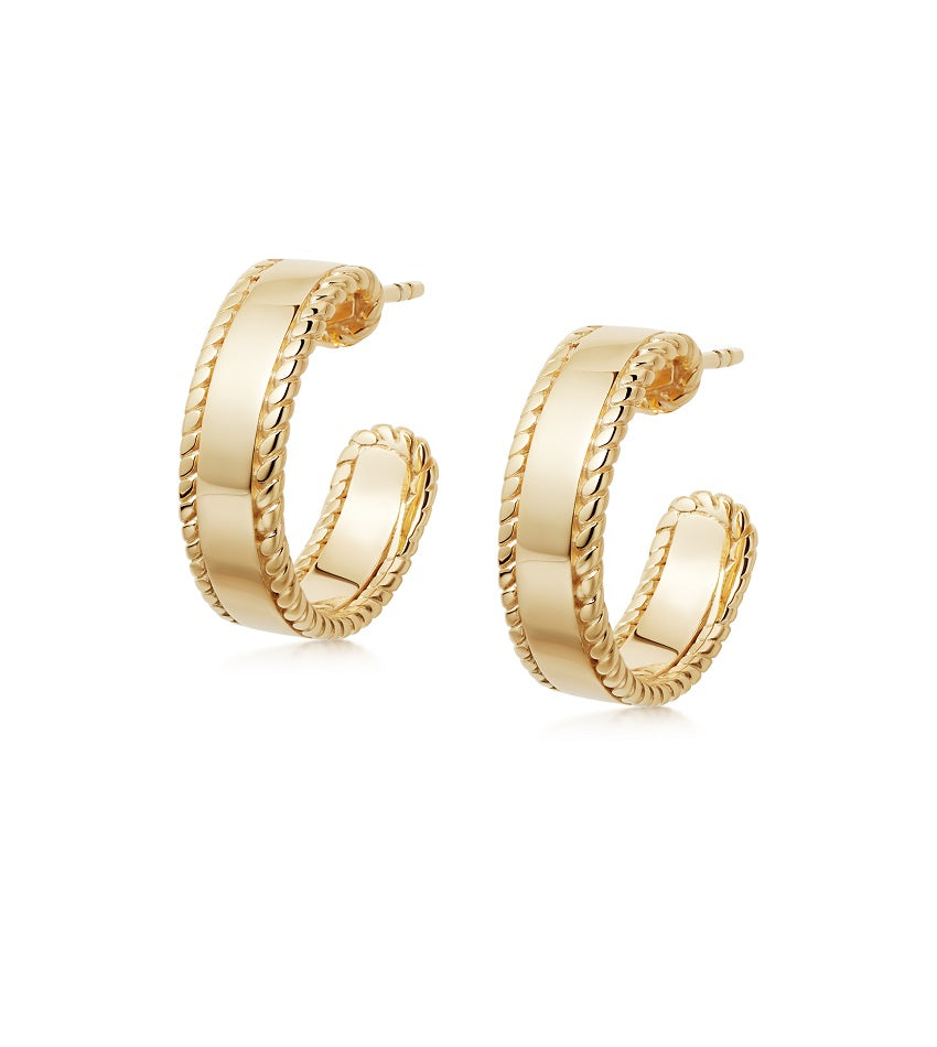 STACKED ROPE HOOP EARRINGS GOLD