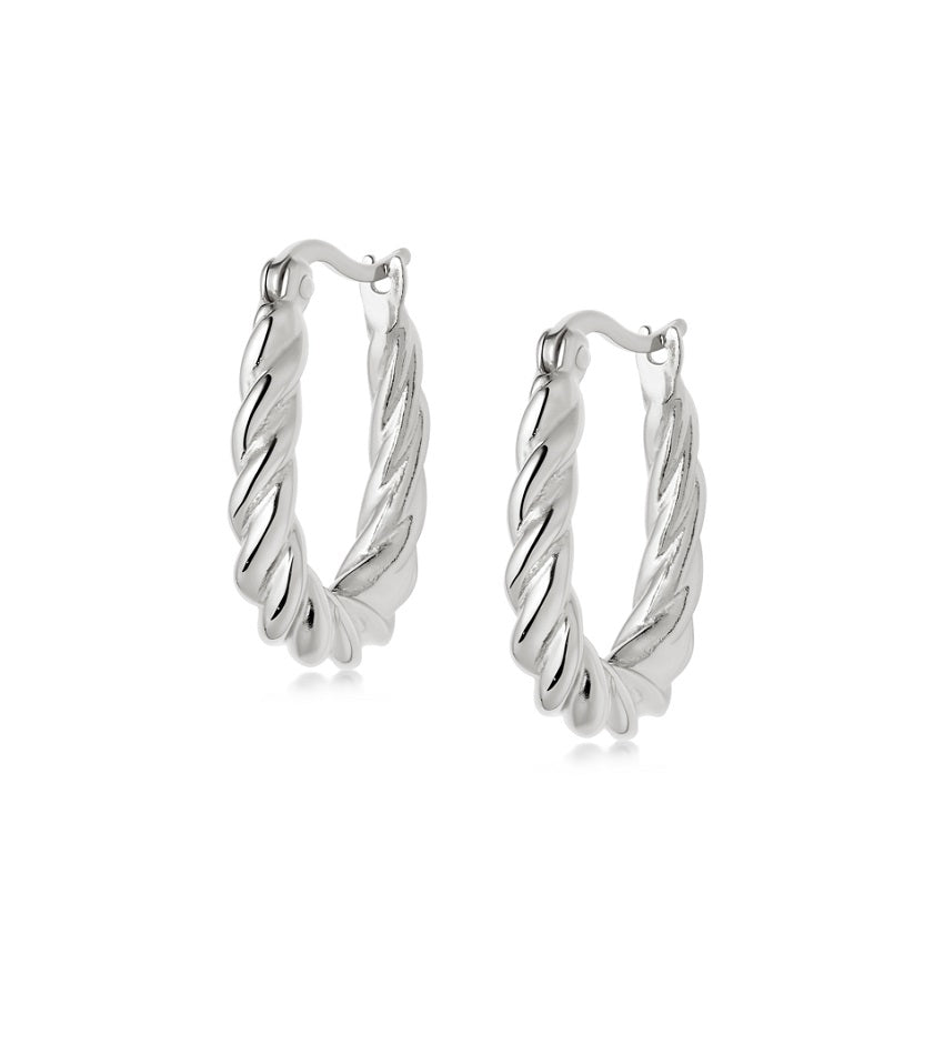 STACKED ROPE CREOLE HOOP EARRINGS SILVER