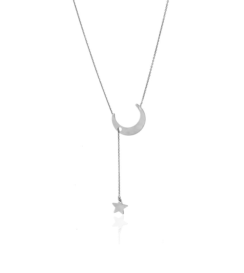 Tie Star and Moon Silver Necklace