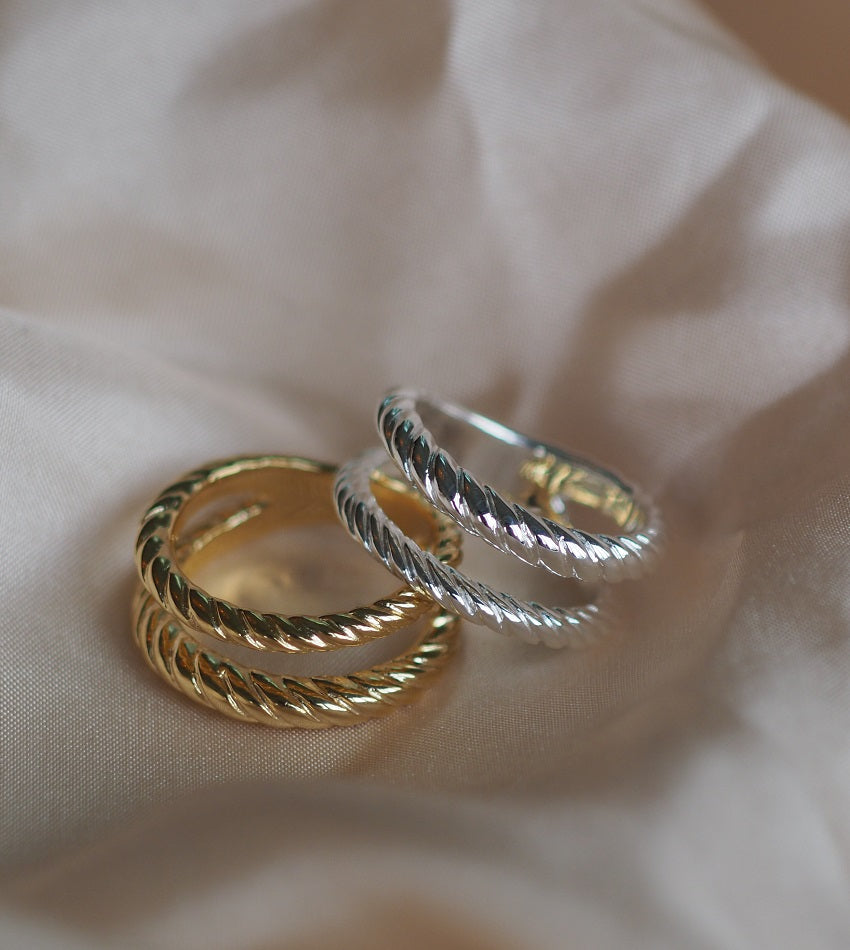 STACKED DOUBLE ROPE RING GOLD