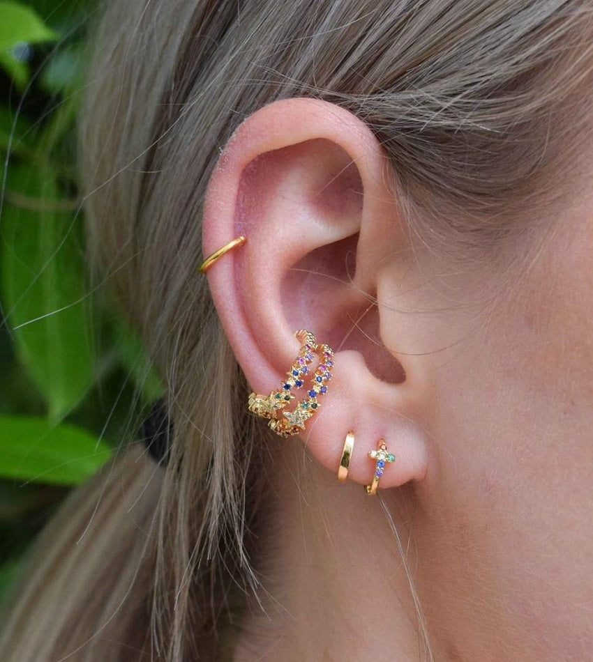 Rainbow Star Ear Cuff Gold