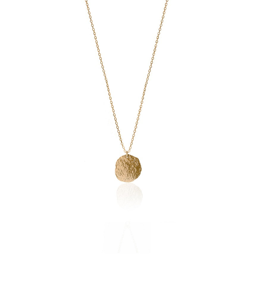 Long Textured Coin Gold Necklace