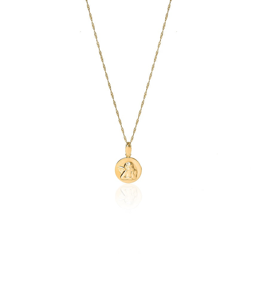 Round Angel Gold Necklace