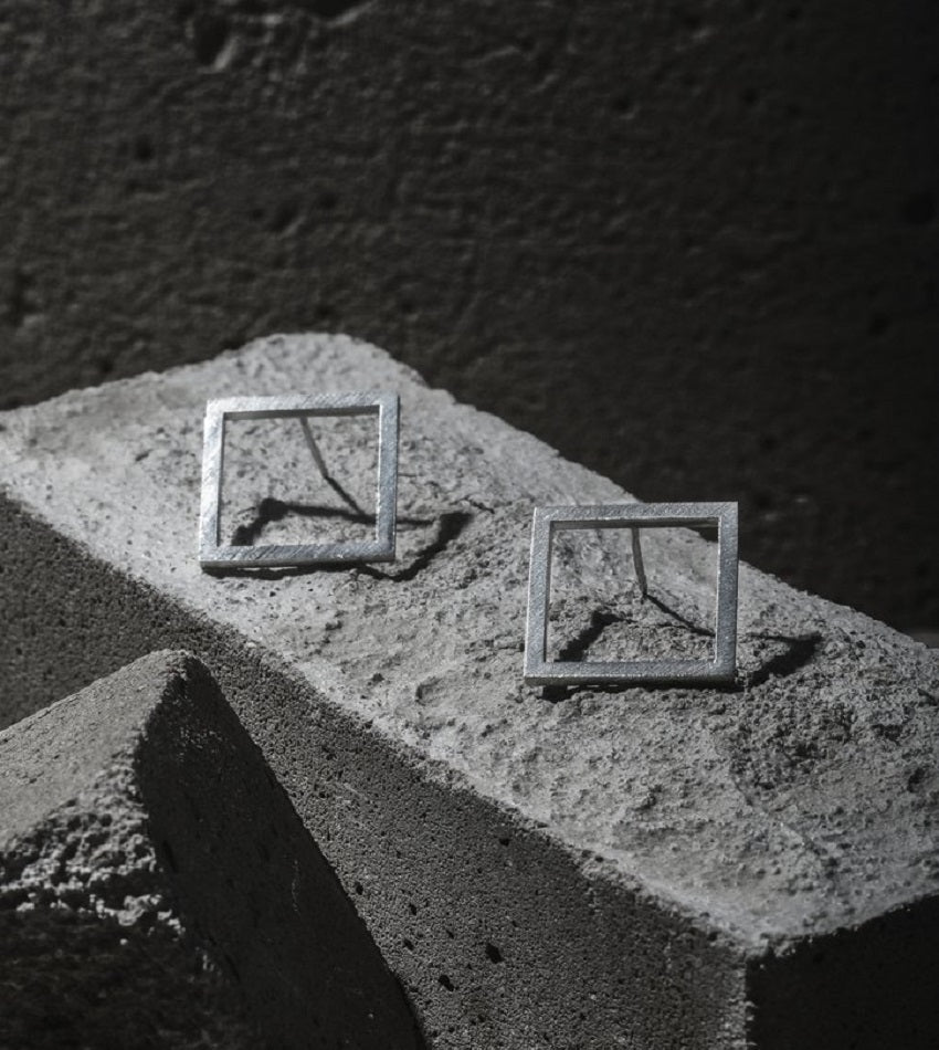 Small Square Earrings Silver