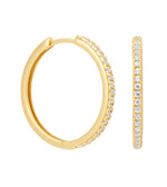 Crystal Hinge Hoops Gold