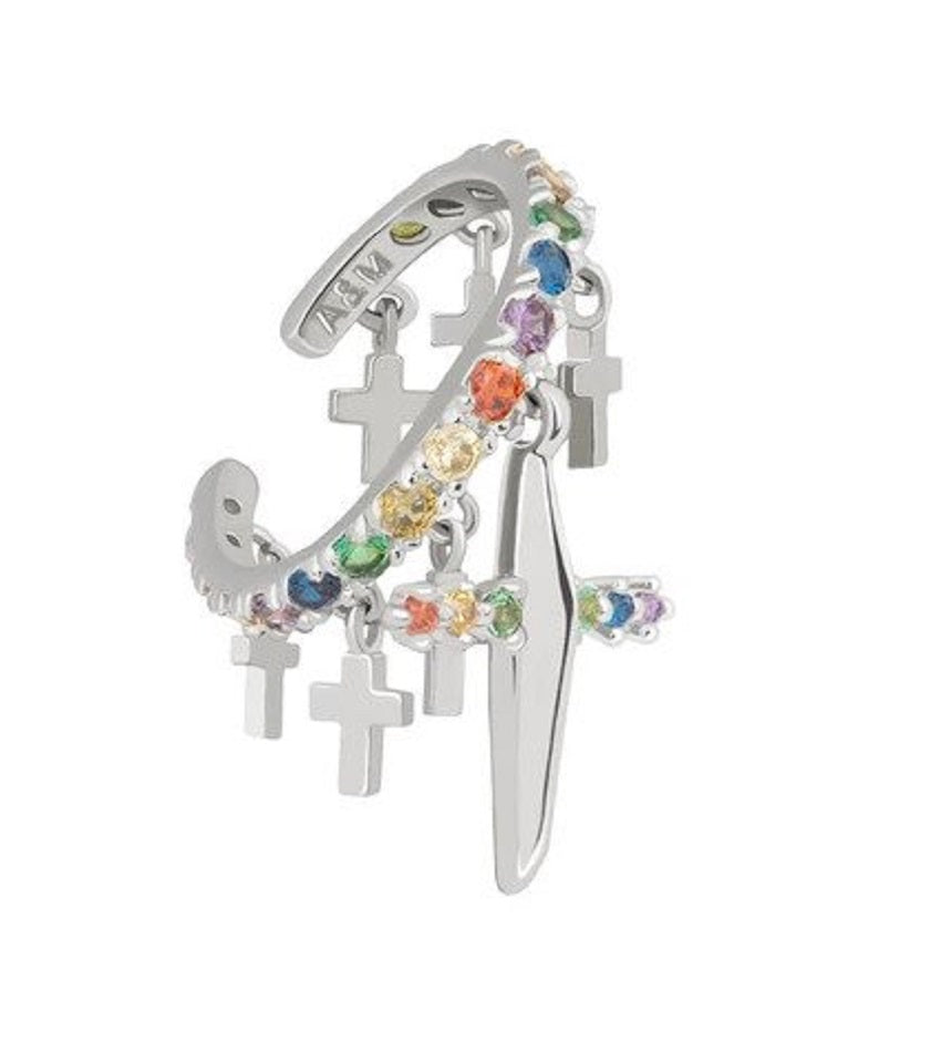 Rainbow Cross Ear Cuff Silver