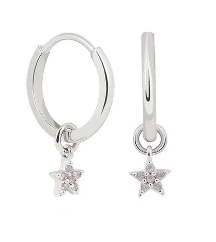 Mystic Star Pendant Earrings Silver