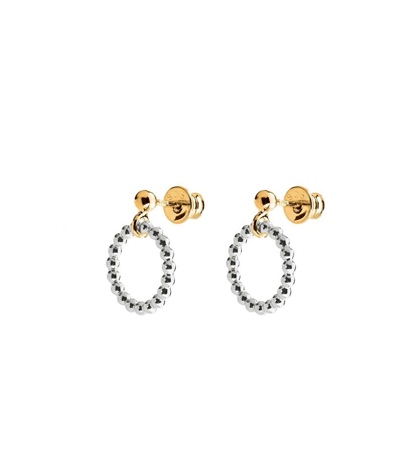 Champagne Circle Earrings Silver and Gold