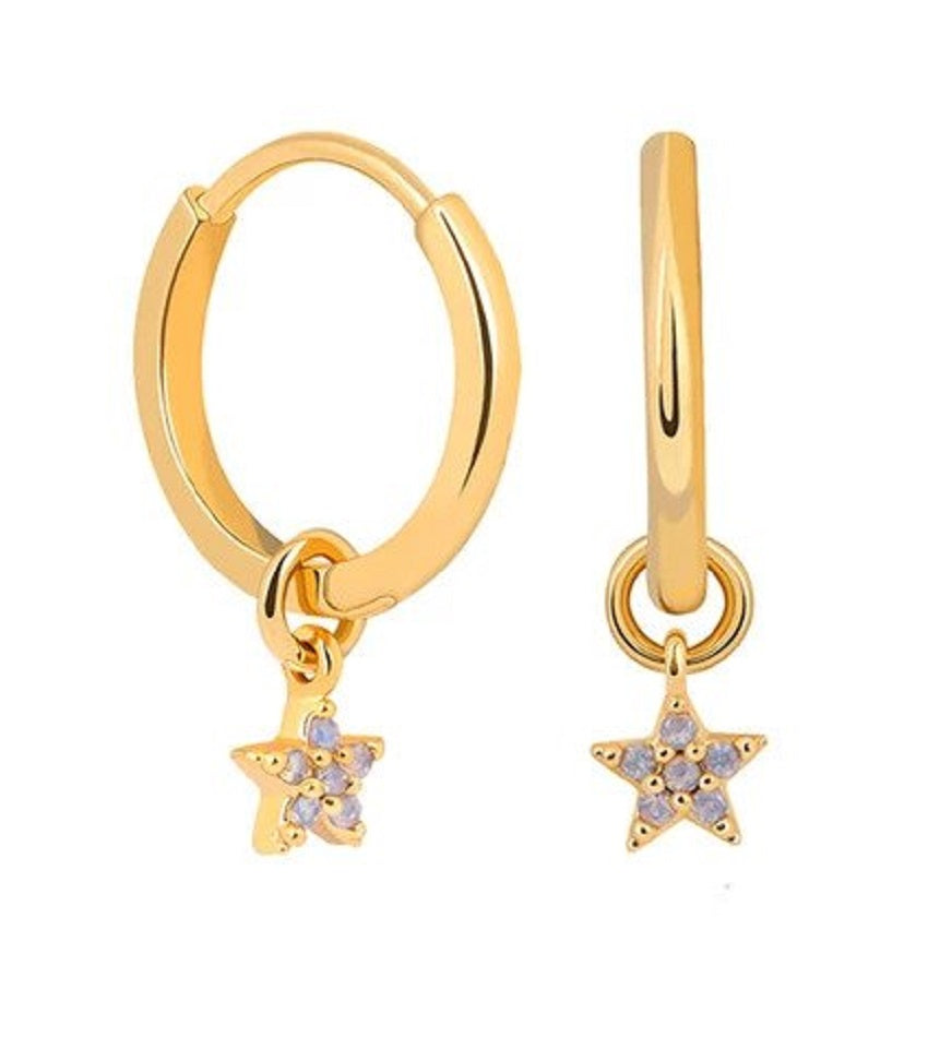 Mystic Star Pendant Earrings Gold
