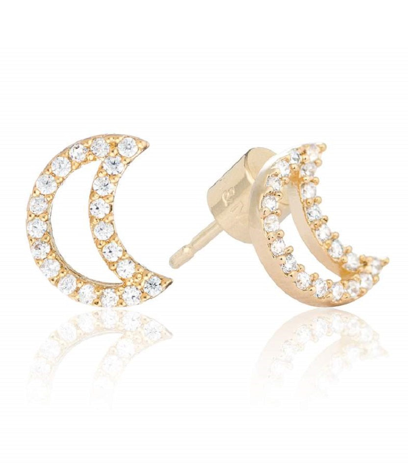 New Tricks Moon Stud Earrings Gold