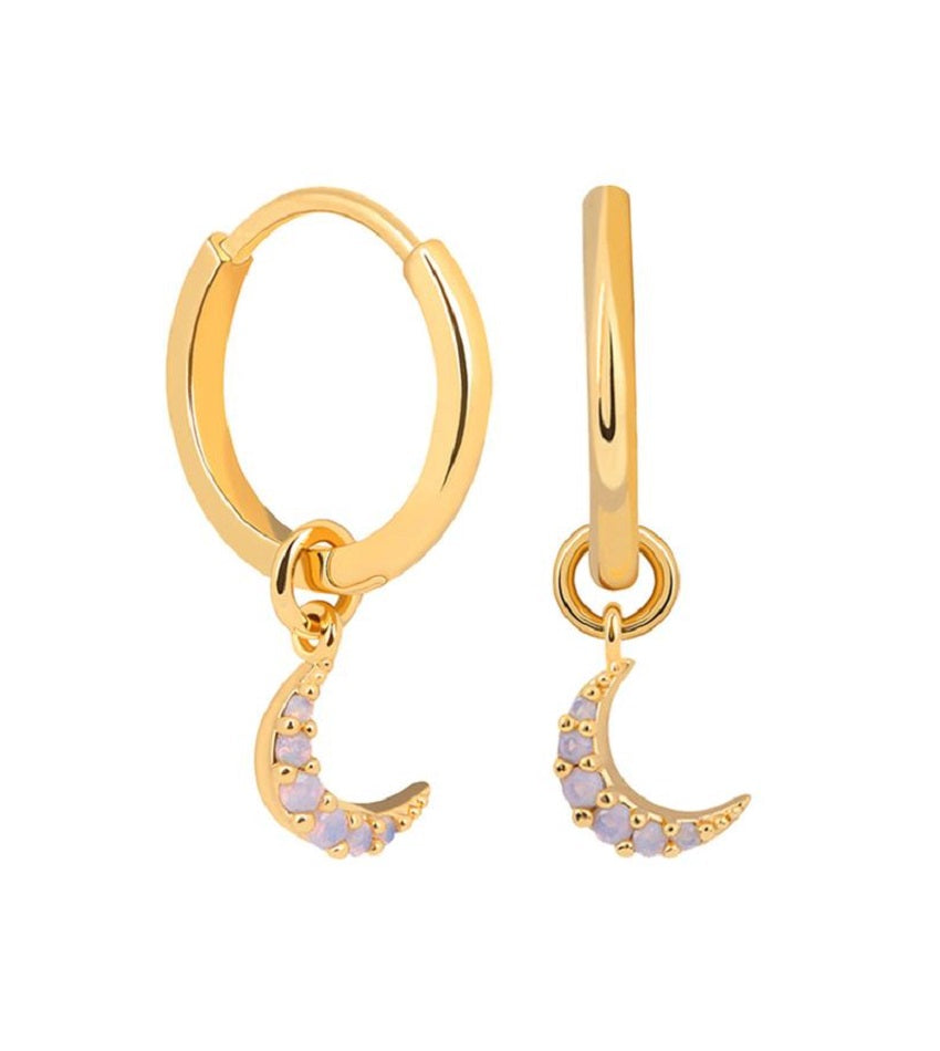 Mystic Moon Pendant Hoop Earrings Gold