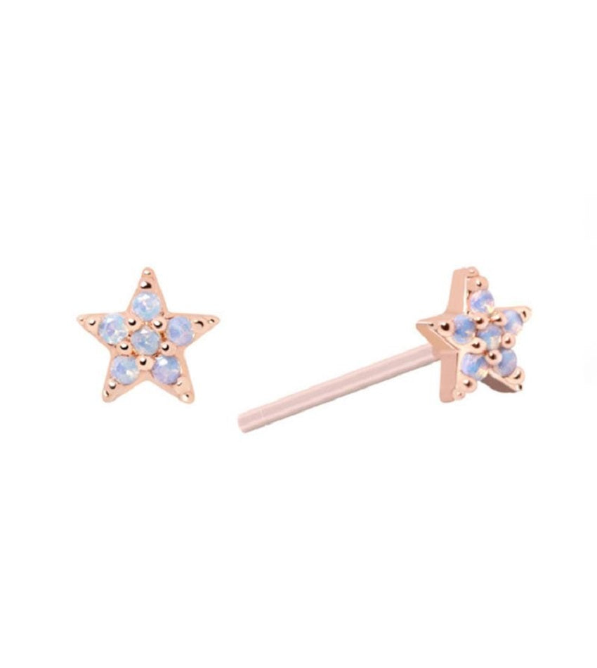 Mystic Star Stud Earrings Rose Gold