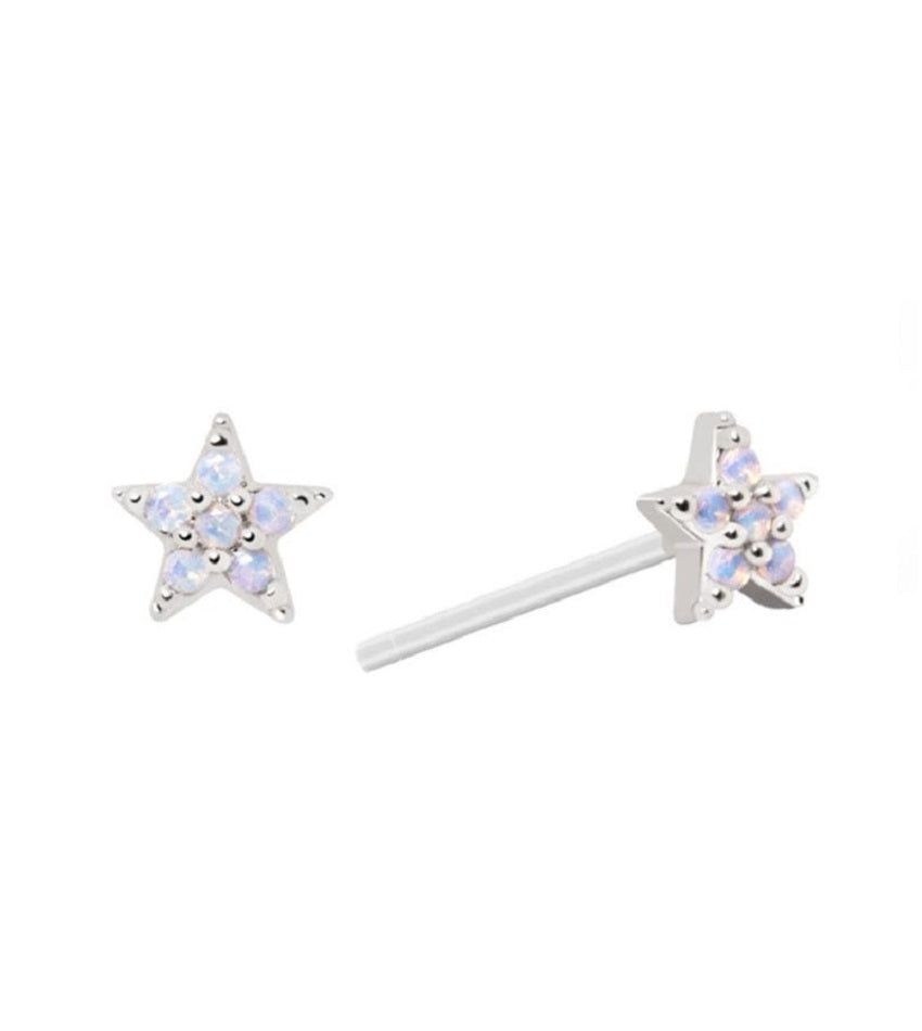 Mystic Star Stud Earrings Silver