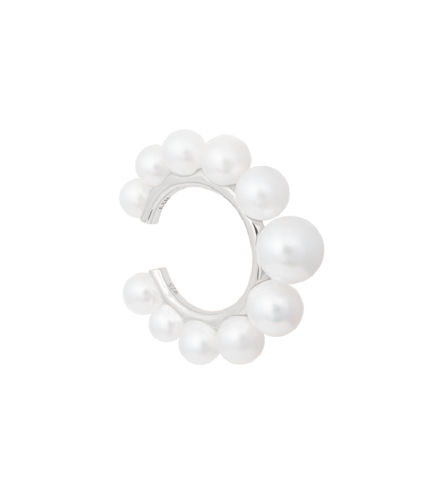 Pearl Tapered Statement Ear Cuff Silver