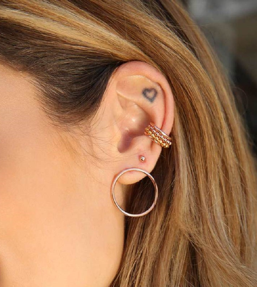 Basic 2.0 Beaded Ear Cuff Rose Gold