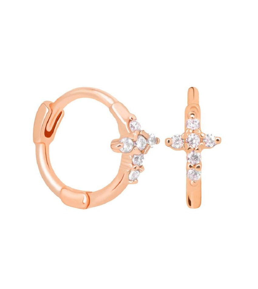 Mystic Cross Huggies Rose Gold