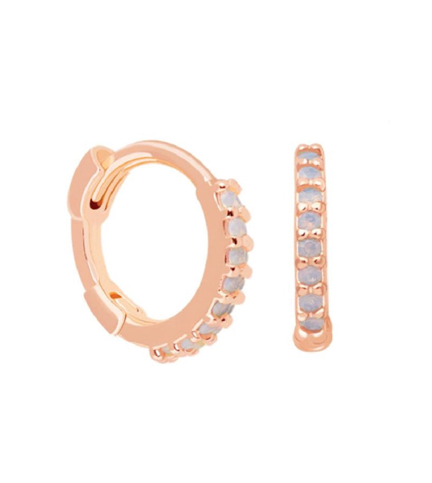 Mystic Jewelled Huggies Rose Gold