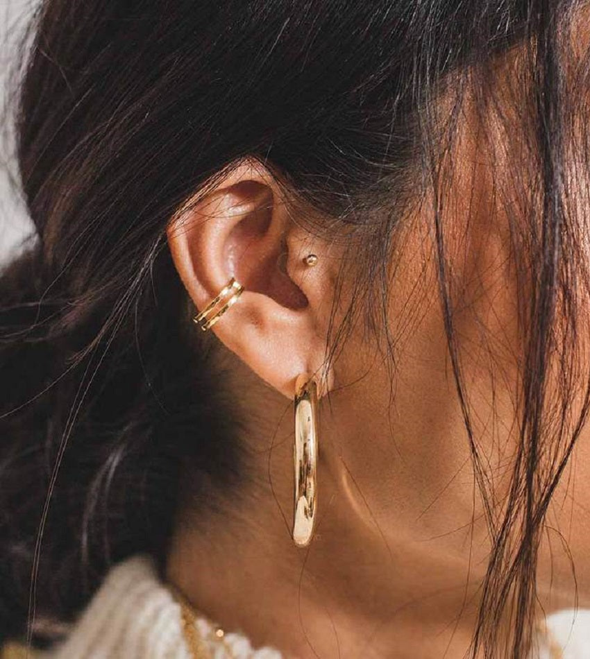Simple Wishbone Ear Cuff Gold