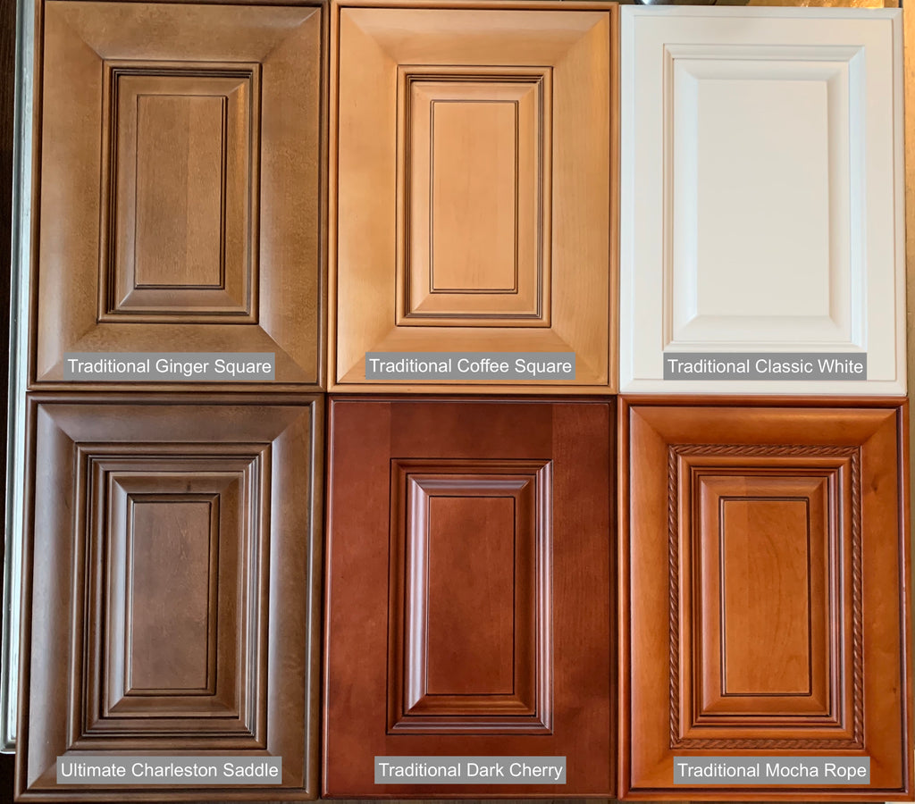 compare raised panel styles, cabinet sales center, charleston, dark cherry, ginger square, coffee square, classic white, mocha rope