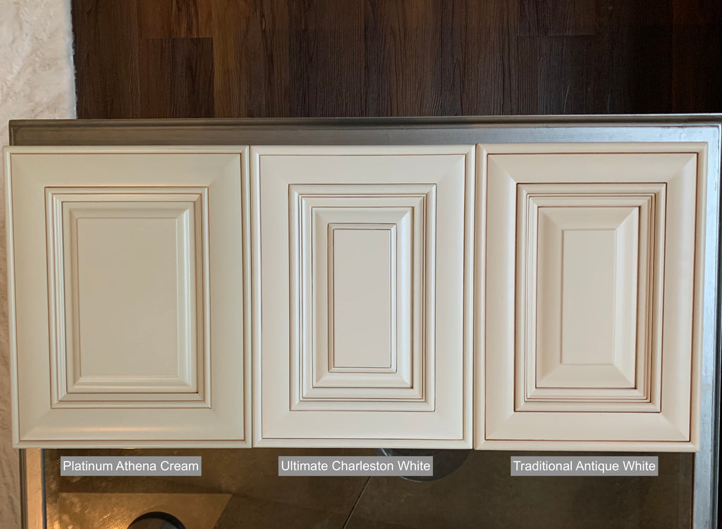 compare antique white styles, platinum athena cream, ultimate charleston white, traditional antique white, cabinet sales center