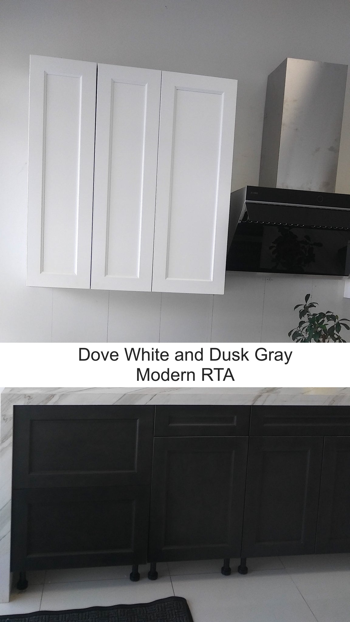 frameless shaker style dove white and dusk gray cabinets installed