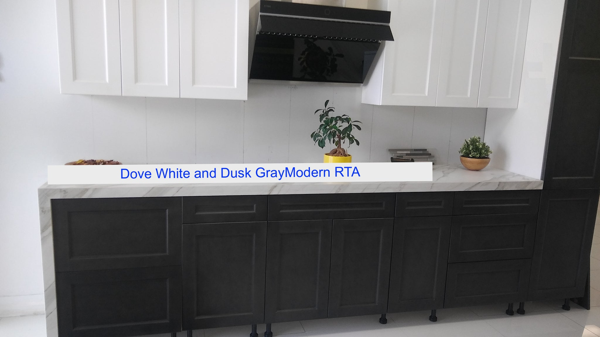 frameless shaker style dove white and dusk gray cabinets