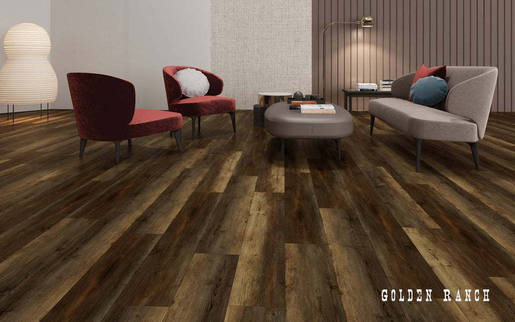 Rigid Core Wide Plank Waterproof VinylFlooring, Golden Ranch - Cabinet Sales Center