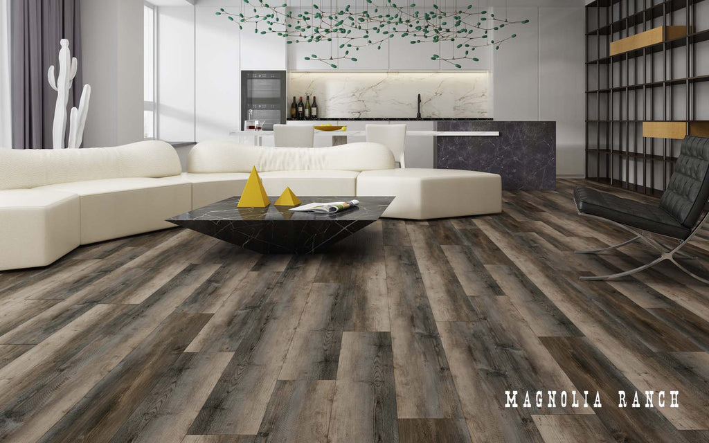 Rigid Core Wide Plank Waterproof Vinyl Flooring, Magnolia Ranch - Cabinet Sales Center