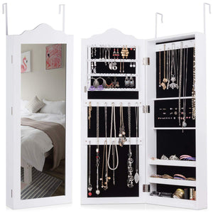Wall Door Jewelry Cabinet Mounted, Bedroom Hanging Armoire Girls Women Gift Real Glass Full Length Mirror 50 Ring Slots 19 Necklace Hooks Deep Storage Organizer, Large Jewelry Cabinets,White - Cabinet Sales Center