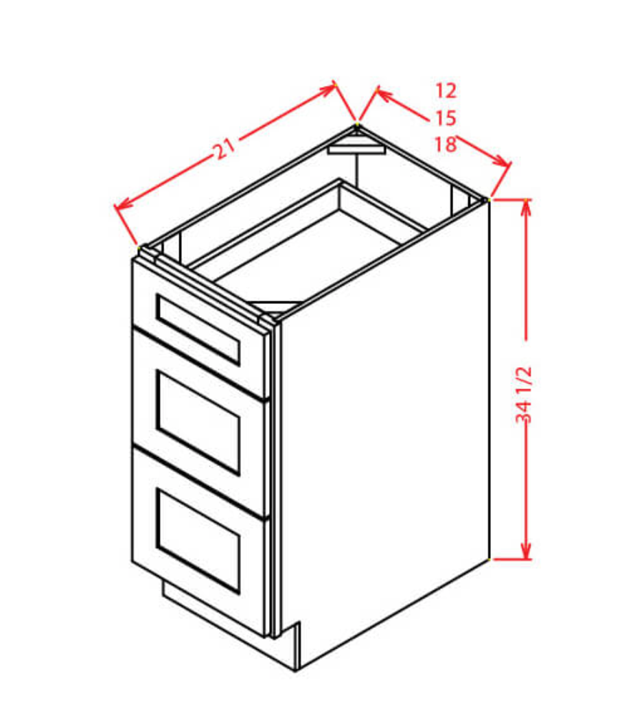 "Vanity Drawer Base 12"" CC-3VDB12, Cherry - Cabinet Sales Center"