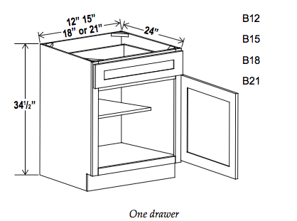 Single Door Single Drawer Bases - Builder Line - Cabinet Sales Center