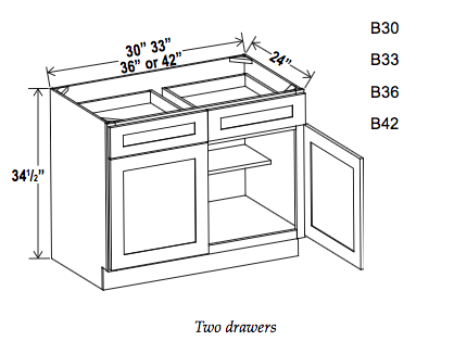 Double Door Double Drawer Bases - Builder Line - Cabinet Sales Center