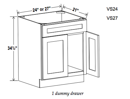 Vanity Sink Bases-Double Door Single Drawer Front - Builder Line - Cabinet Sales Center