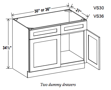 Vanity Sink Bases-Double Door Double Drawer Front - Cabinet Sales Center