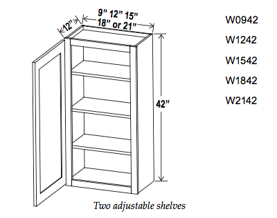 "42"" High Single and Double Door Wall Cabinets - Builder Line - Cabinet Sales Center"