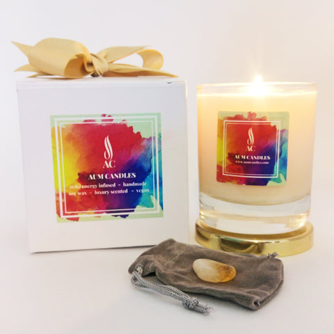 Prosperity Reiki Crystal Candle